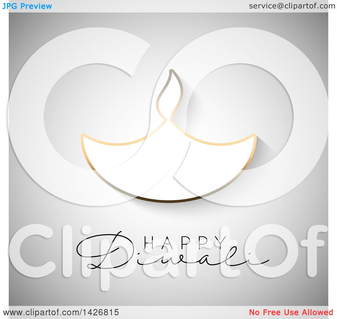 Clipart Of Happy Diwali Text With A Gold Outlined Oil Lamp On Gray