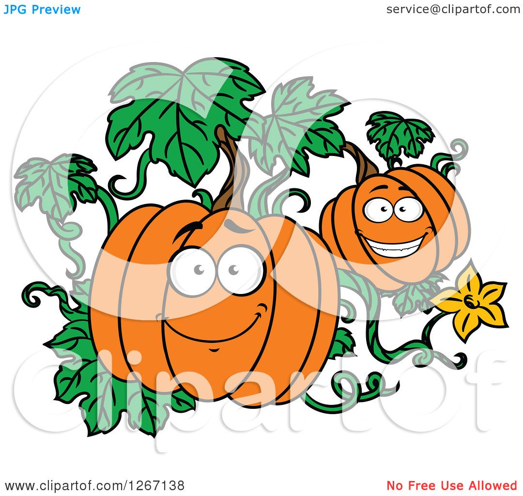 Clipart of Happy Halloween Pumpkins on the Vine - Royalty ...