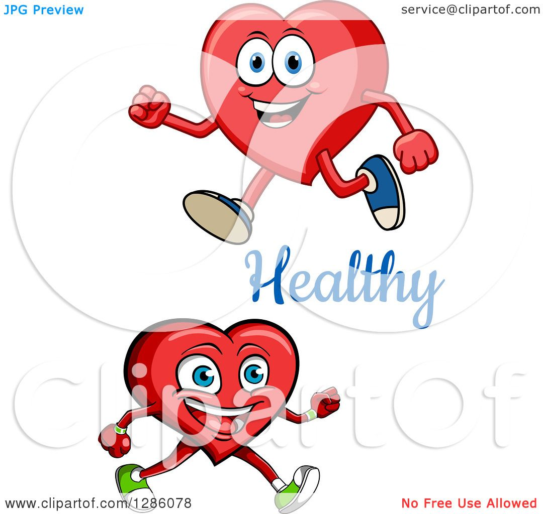 Walking In Love Clip Art: Clipart Of Happy Heart Characters Walking With Healthy