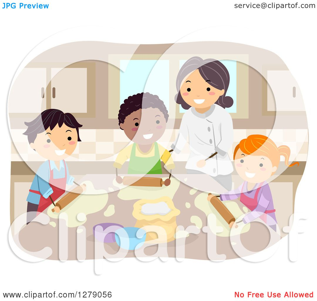 Clipart of Happy Home Economics Students and a Teacher Making ...