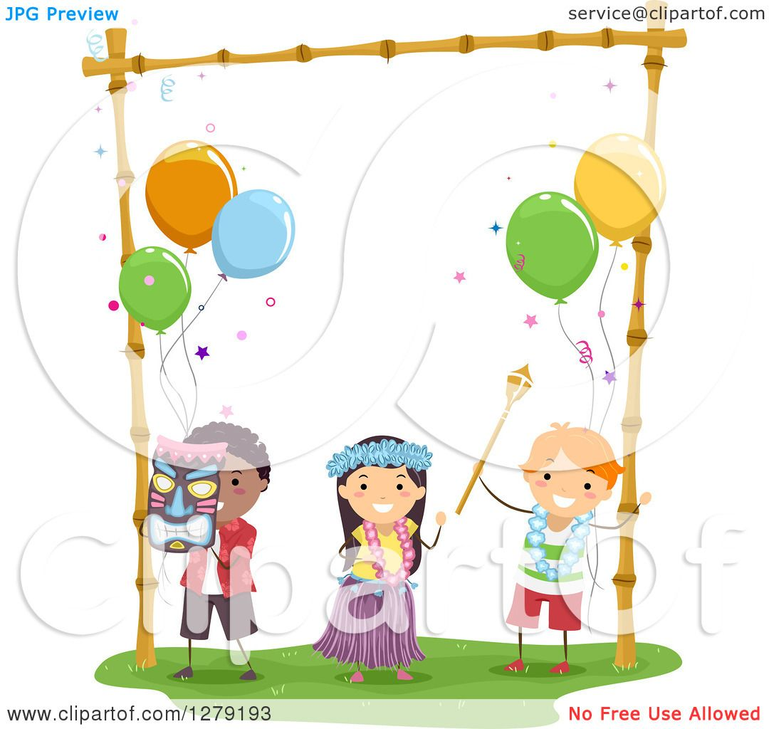 Clipart Of Happy Kids Dancing At A Hawaiian Themed