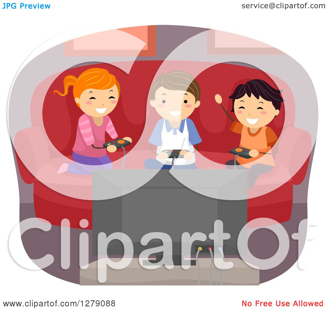 Clipart Of Happy Kids Playing A Video Game At Home Royalty Free