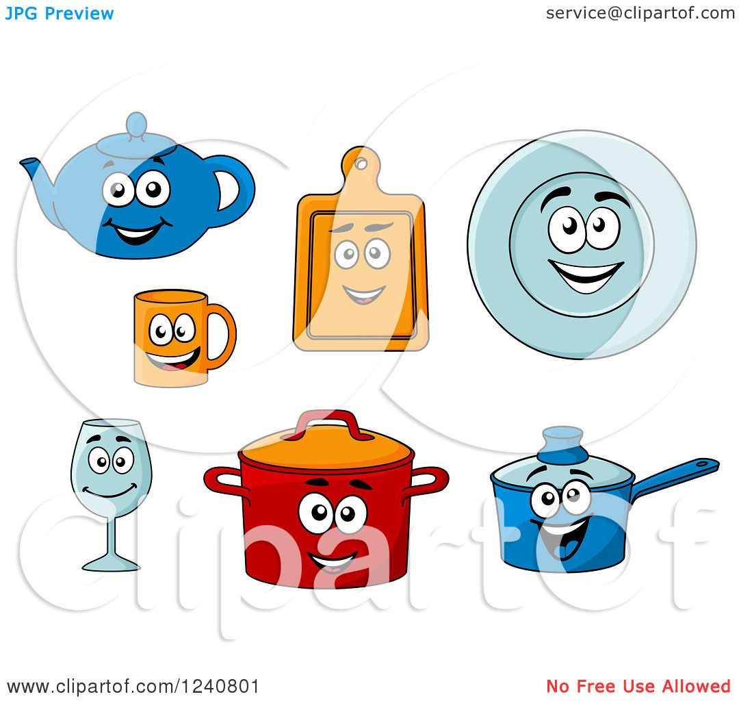 Clipart of Happy Kitchen Dishes Characters - Royalty Free Vector ...