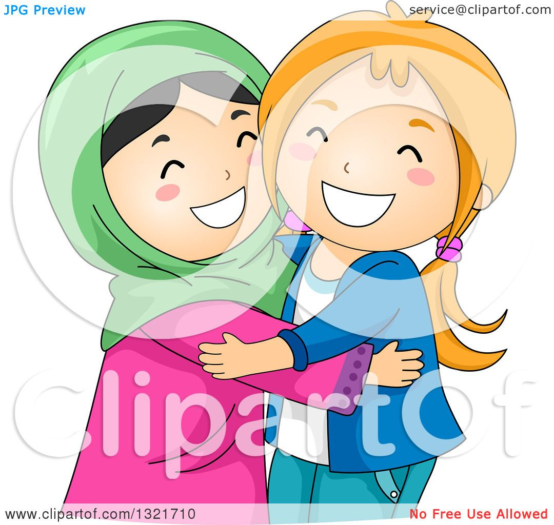 Clipart Of Happy Muslim And Christian Girls Hugging -2626