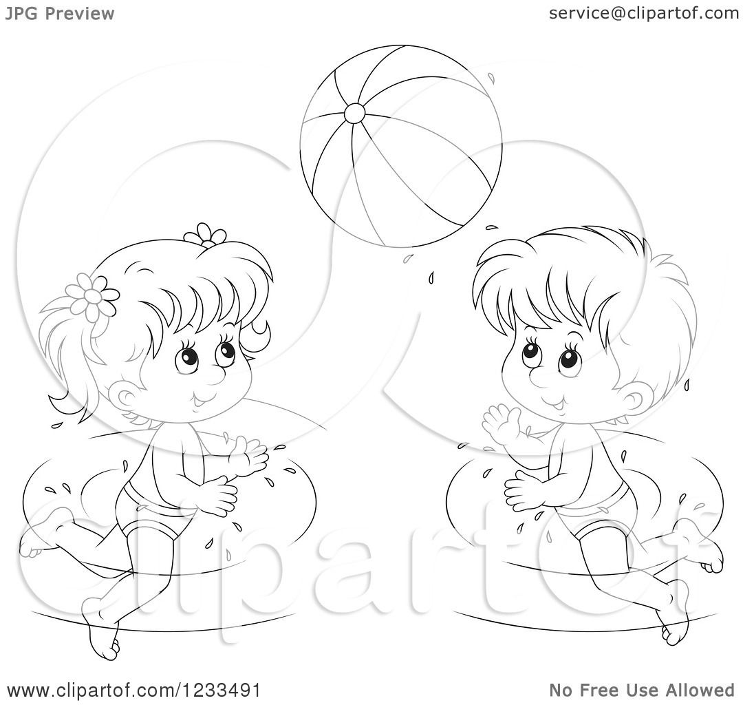 clipart of happy outlined children playing with a beach ball in a