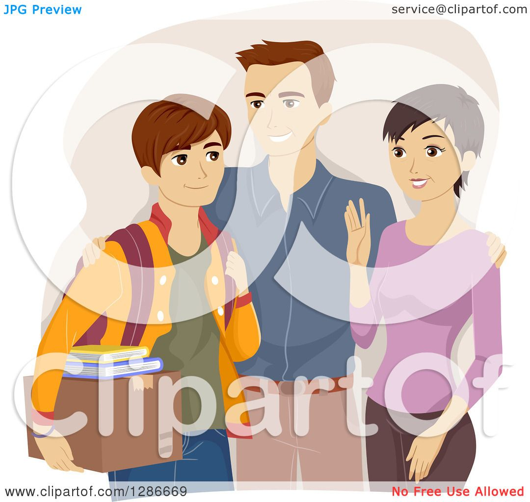 Clipart Of Happy Parents Sending Their Son Off To College   Royalty Free  Vector Illustration By BNP Design Studio