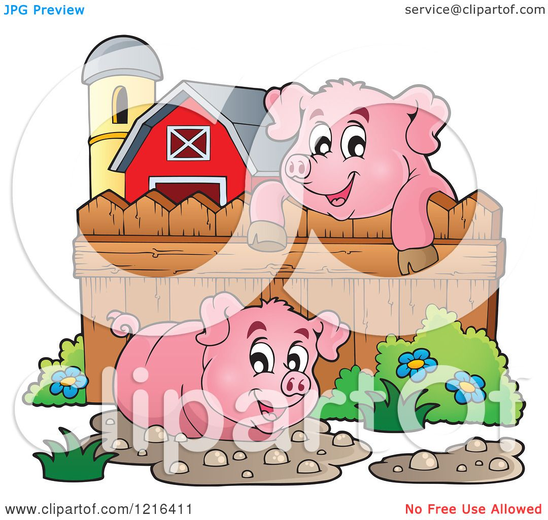 Clipart of Happy Pigs with Mud Puddles in a Barnyard - Royalty ...
