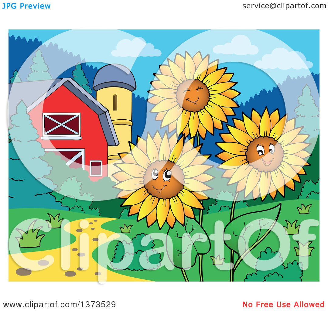 Clipart of Happy Sunflowers Smiling near a Barn and Silo ...