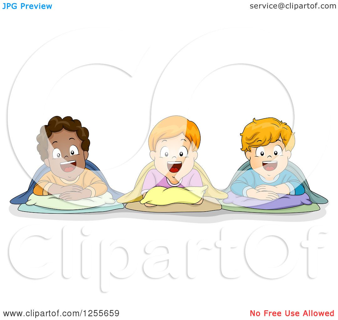 Clipart Of Happy White And Black Boys In Sleeping Bags At A Slumber Party