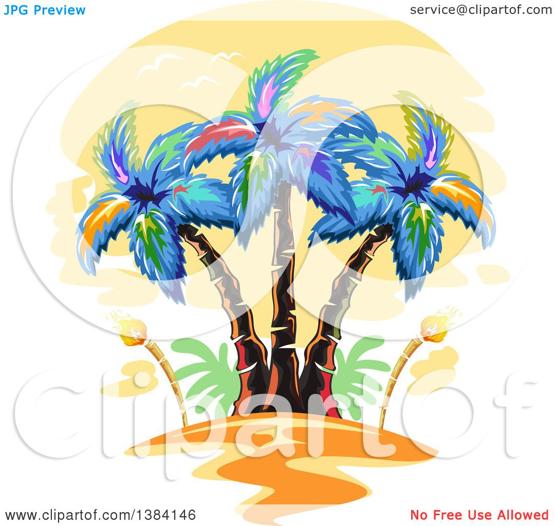 Clipart of Hawaiian Palm Trees and Tiki Torches at Sunset ... | 1080 x 1024 jpeg 129kB