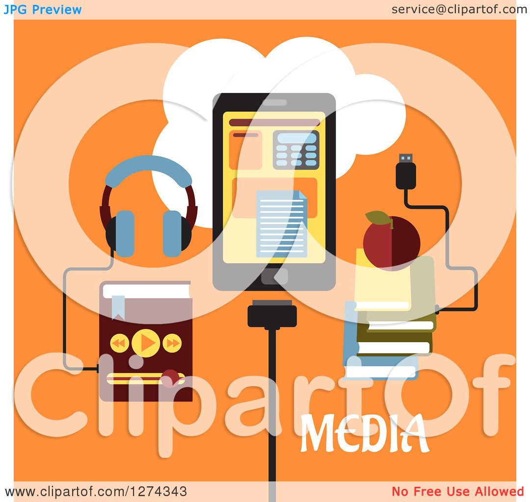 Clipart of Headphones Connected to an MP3 Player, Tablet