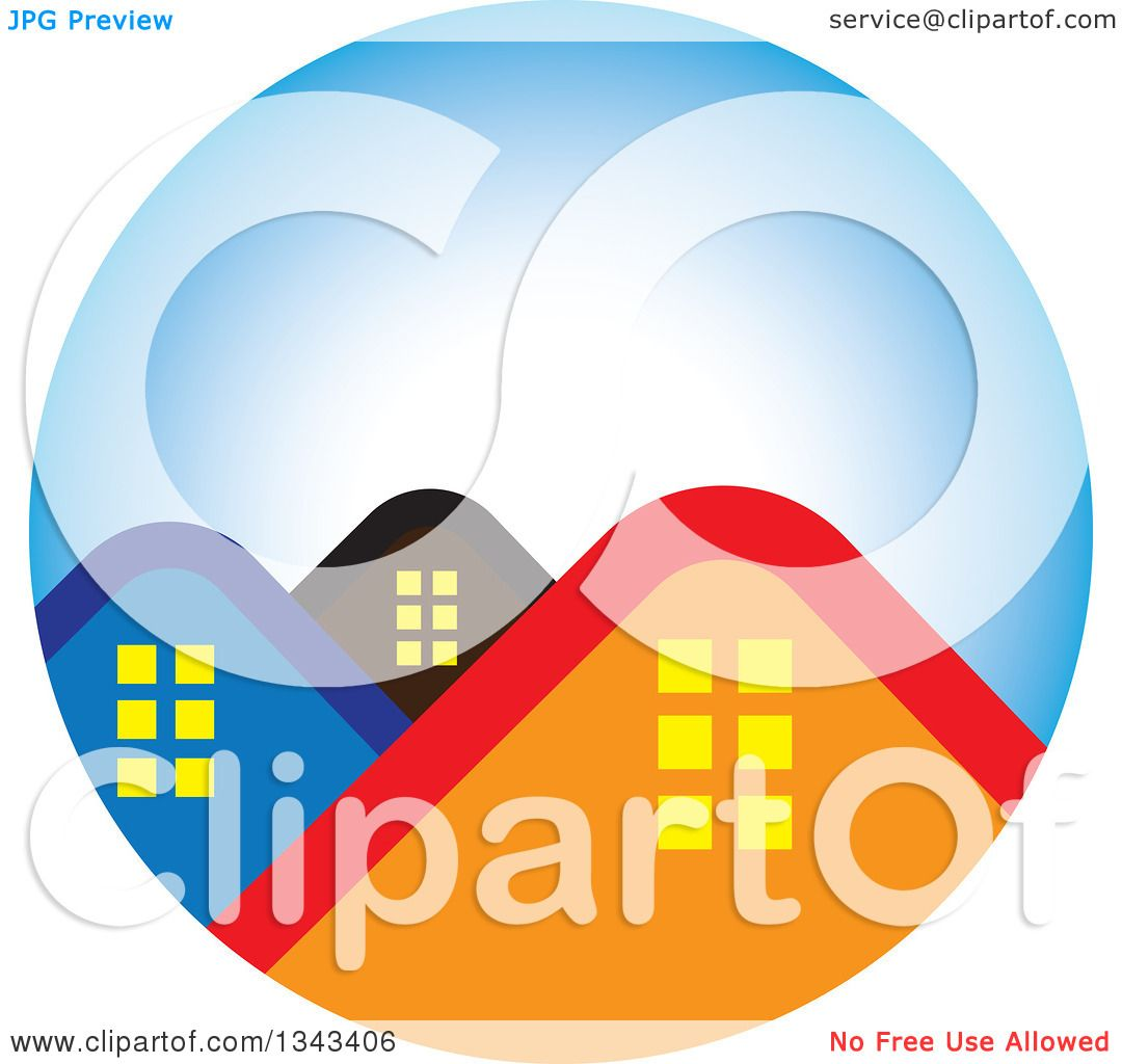 Clipart Of House Roof Tops In A Blue Circle Royalty Free