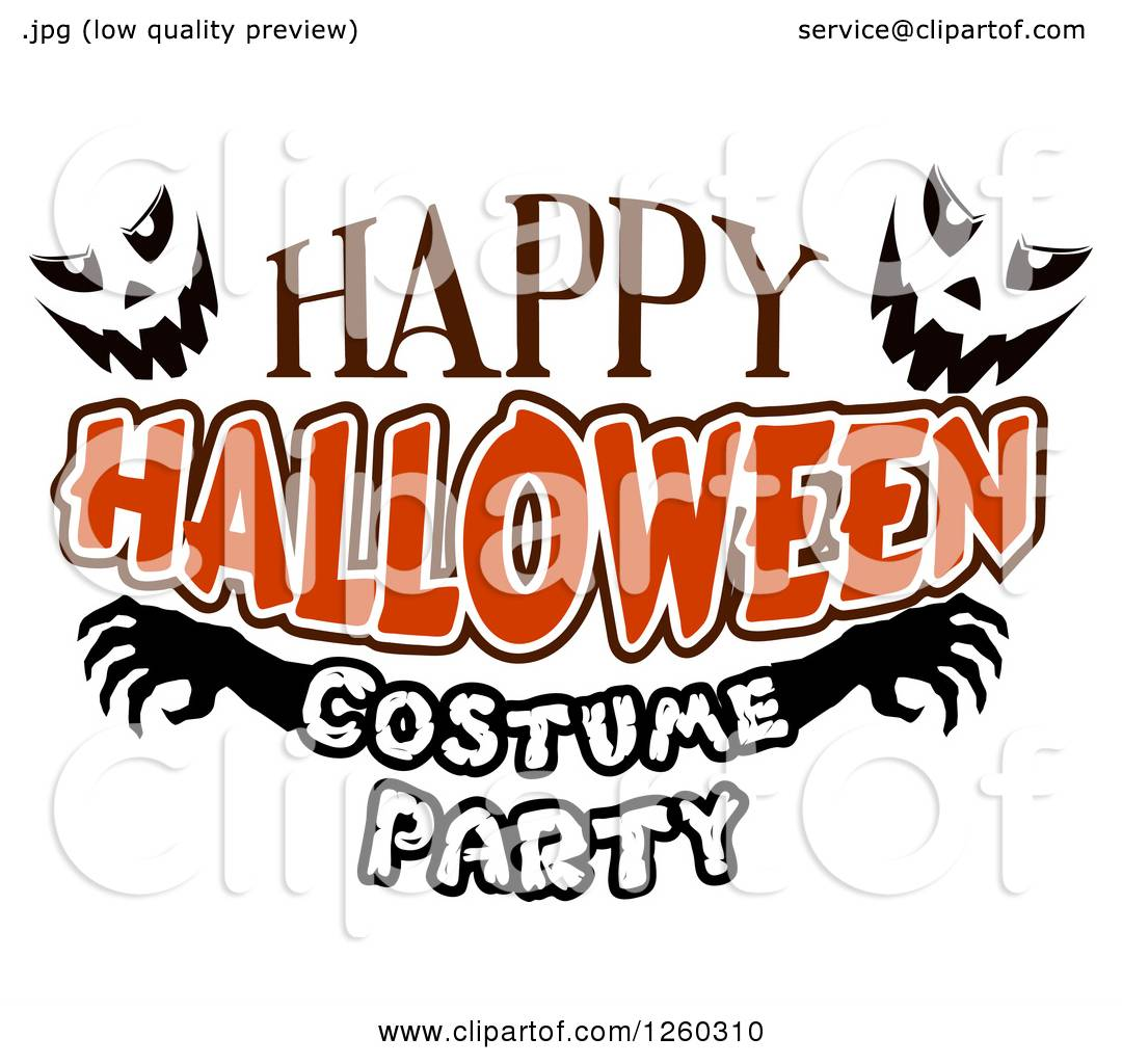 clipart of jackolantern faces with happy halloween costume party rh clipartof com