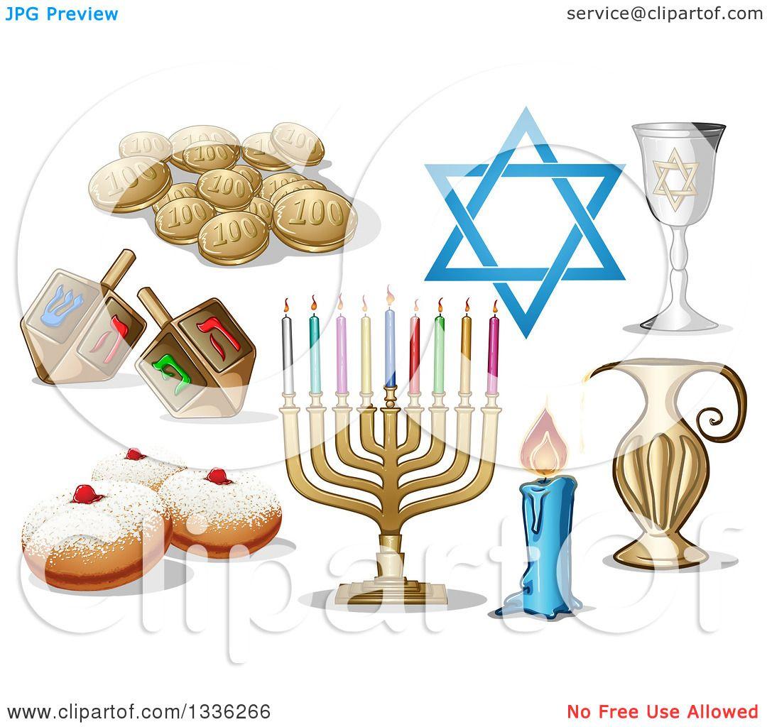 Clipart Of Jewish Holiday Hanukkah Items