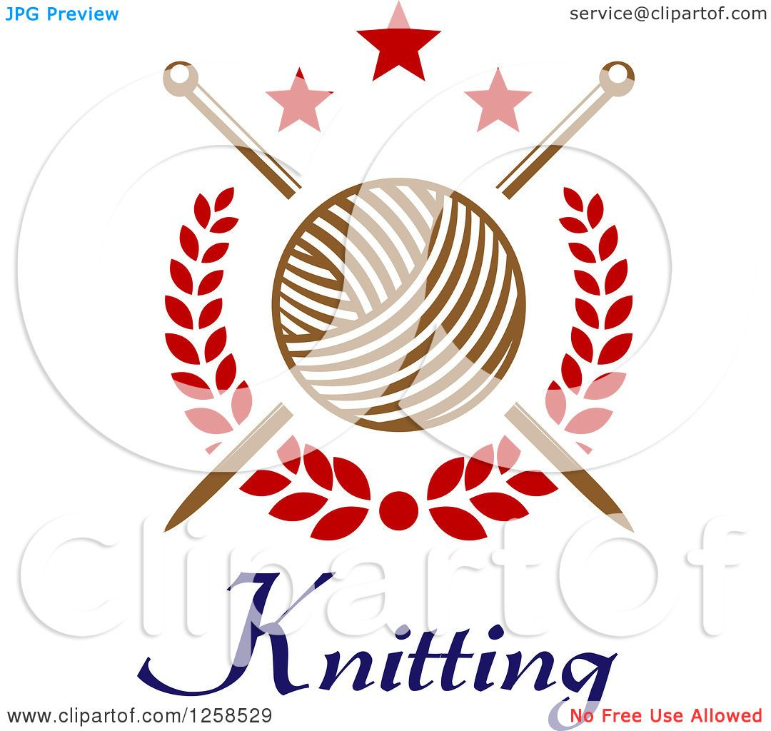 Person Knitting Clipart : Clipart of knitting needles and yarn over text with stars