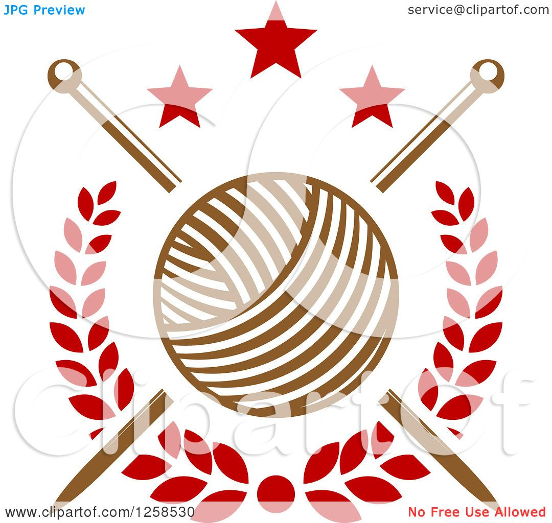 Person Knitting Clipart : Clipart of knitting needles and yarn with stars royalty
