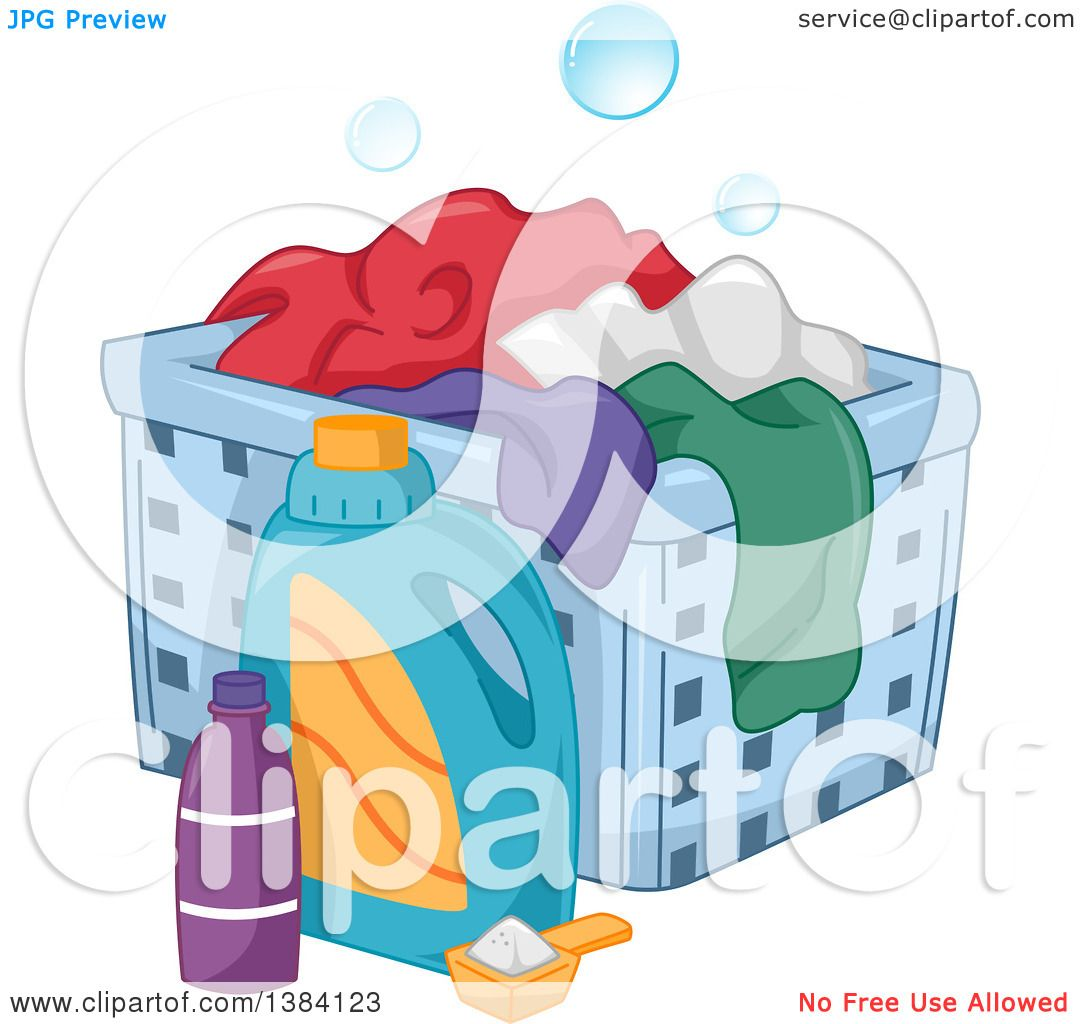 Laundry Detergent Clipart clipart of laundry detergenta hamper with clothes - royalty