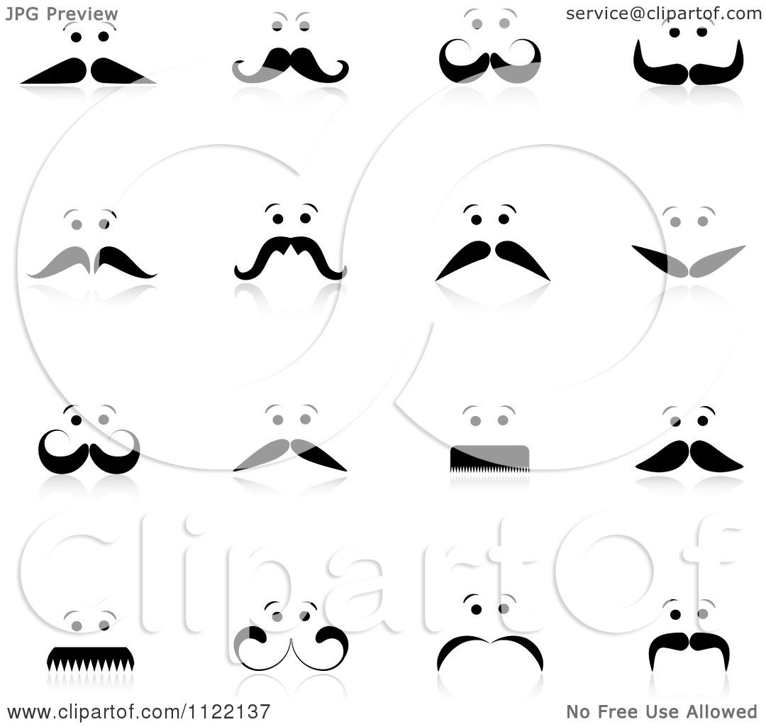 clipart of mens faces with mustaches and reflections - royalty free