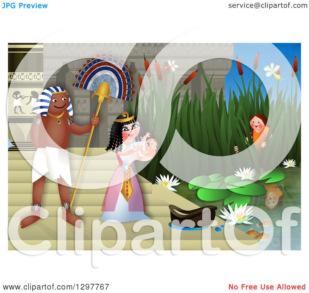 Clipart Of Miriam Watching Baby Moses Discovered By The