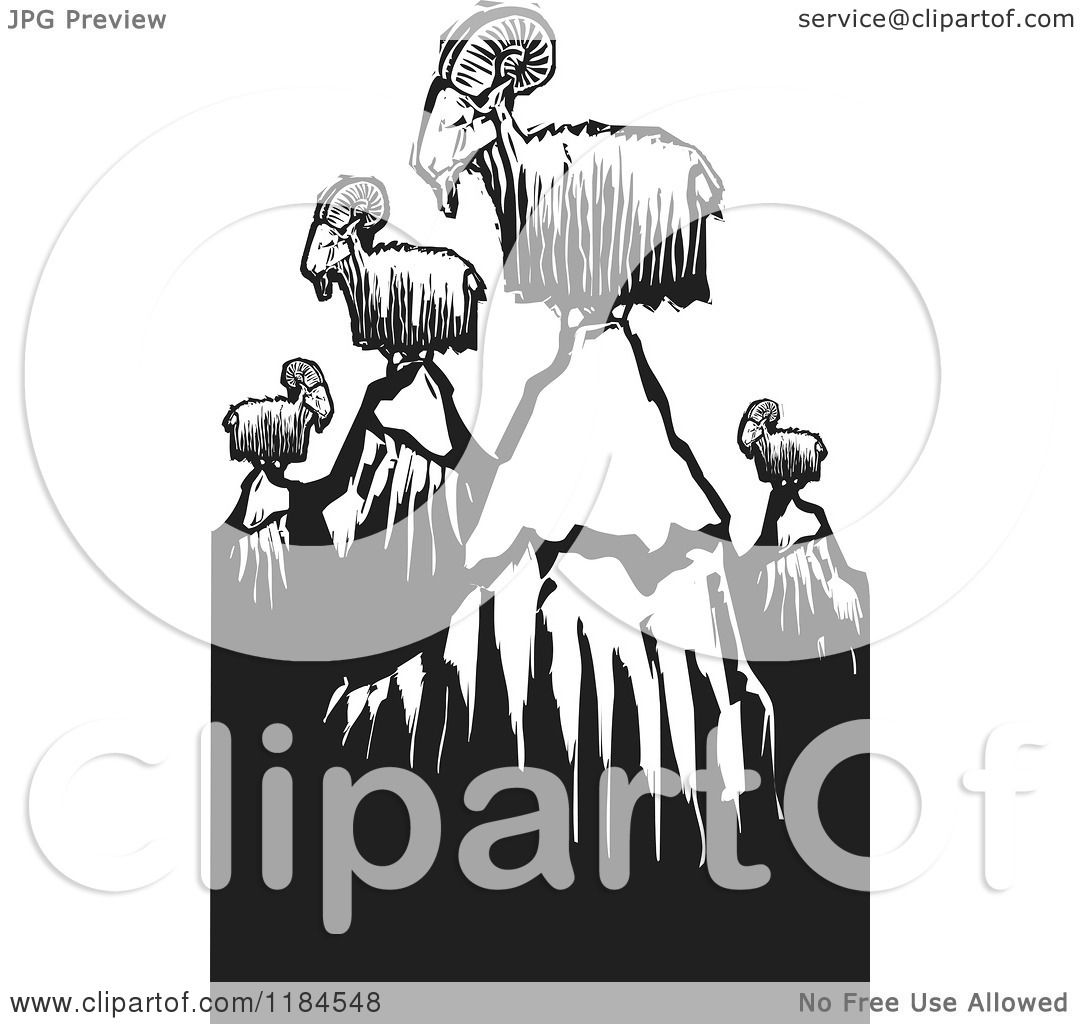 Clipart of Mountain Goats on Rocky Mountain Goat Clip Art