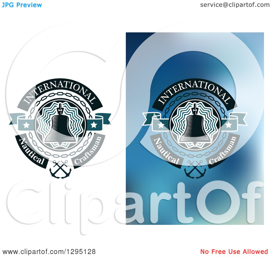 Clipart of Nautical Bell and Sample Text Designs - Royalty