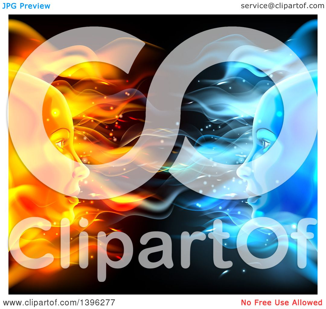 Clipart of Opposite Profiled Fire and Ice Female Faces on ...