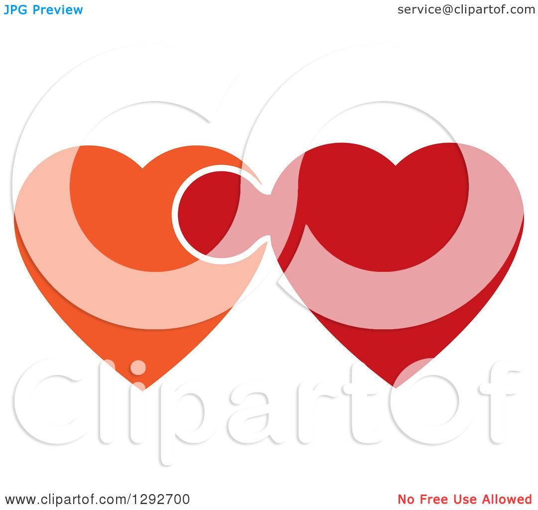 Clipart of Orange and Red Hearts Connected and Linked like a ...