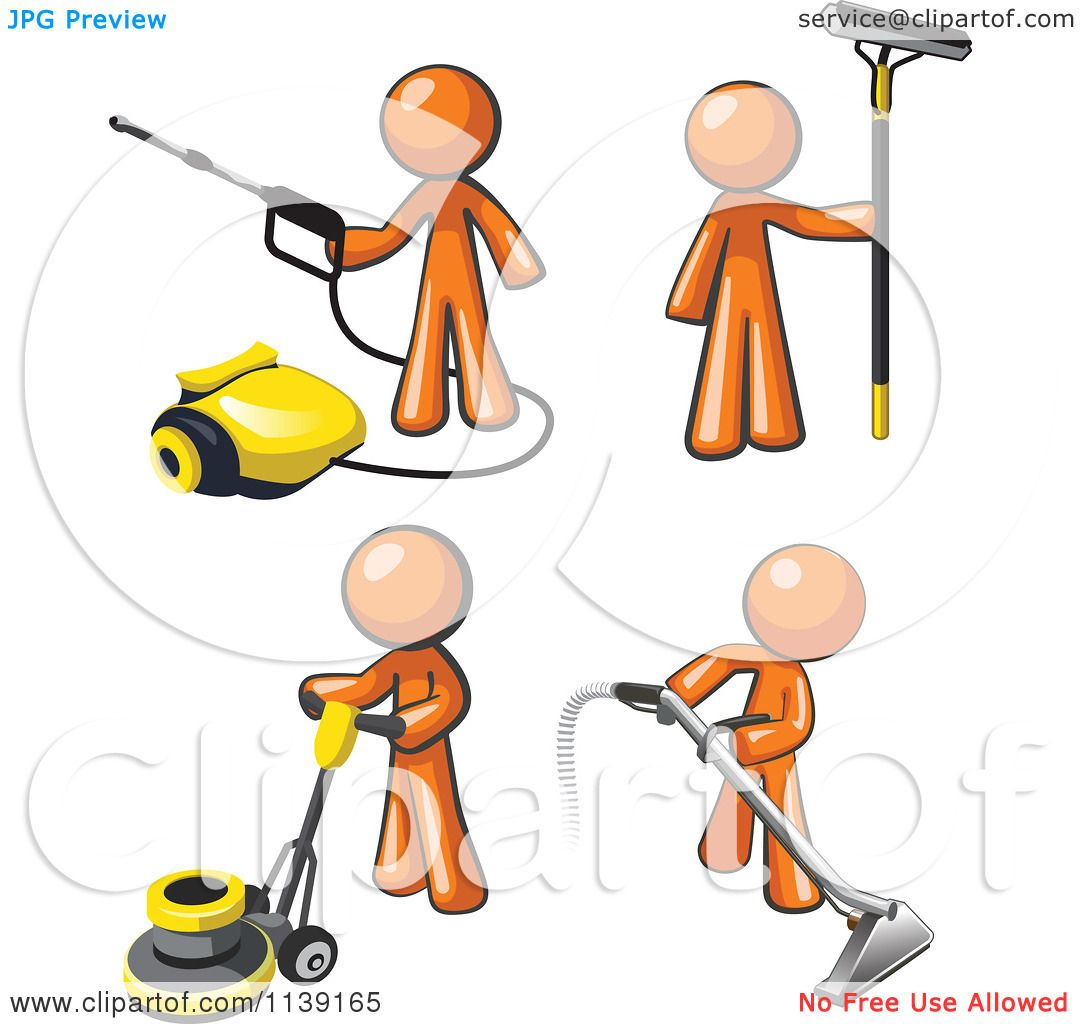 Clipart Of Orange Janitor Men Operating A Pressure Washer