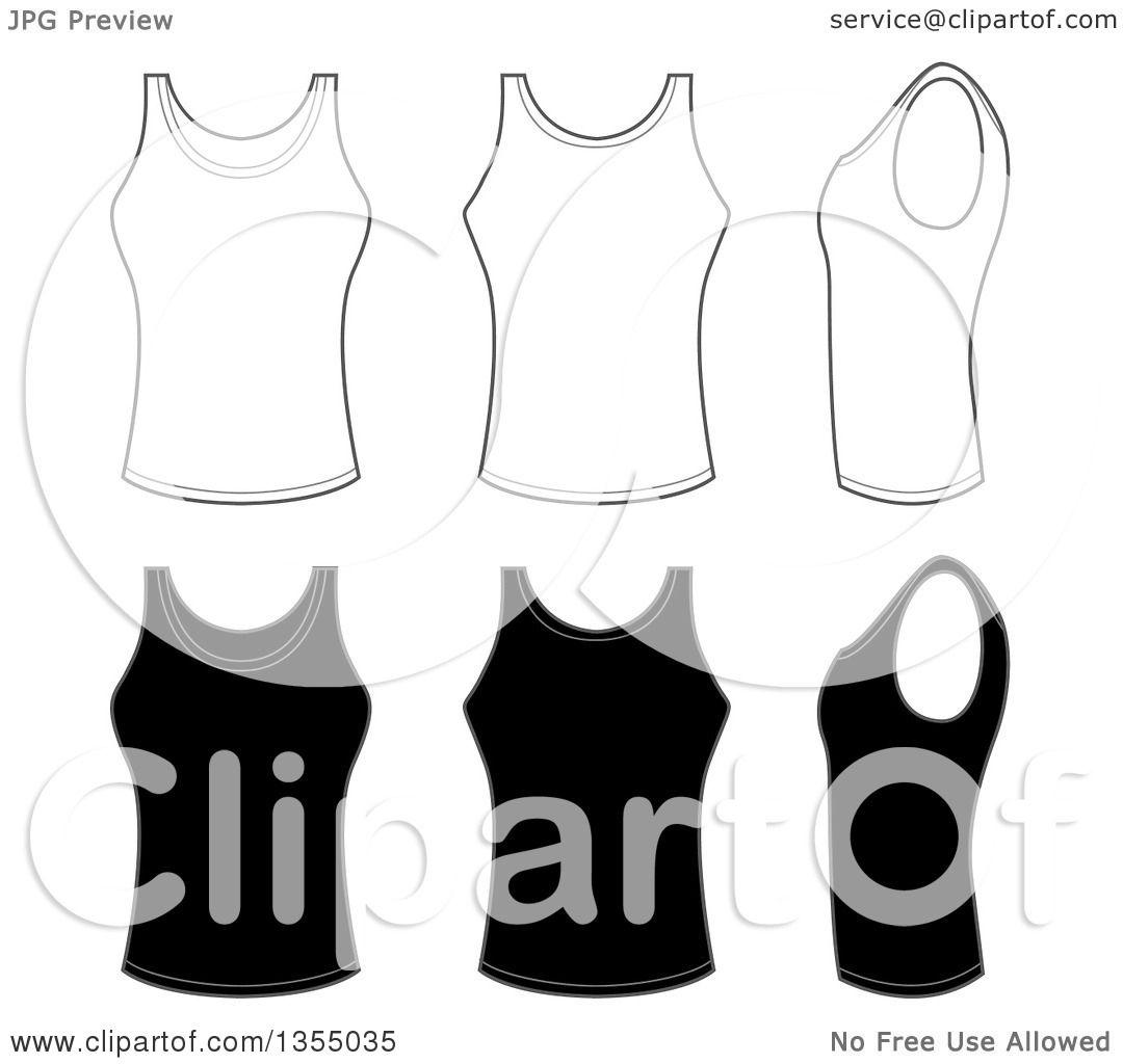 e95729cf75458 Clipart of Outline and Black Tank Tops - Royalty Free Vector Illustration  by vectorace