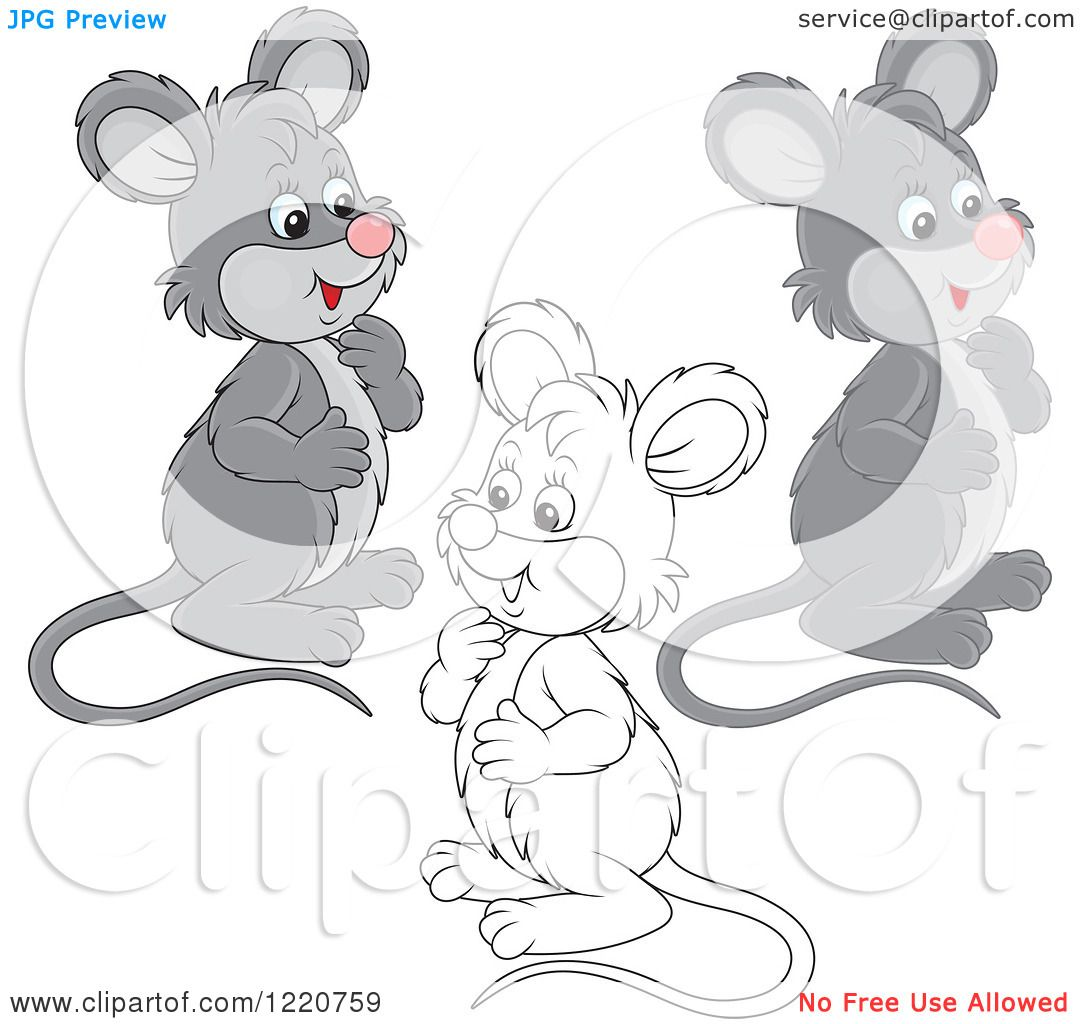 Clipart of Outlined and Colored Cute Gray Mice - Royalty ...
