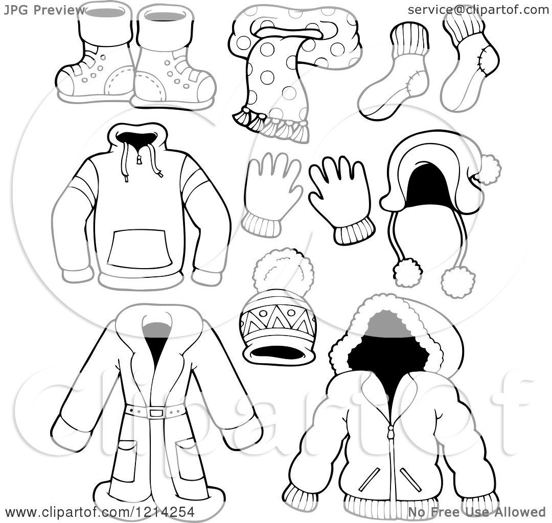 80c7aa5aa69 Clipart of Outlined Winter Clothing Apparel and Accessories - Royalty Free  Vector Illustration by visekart
