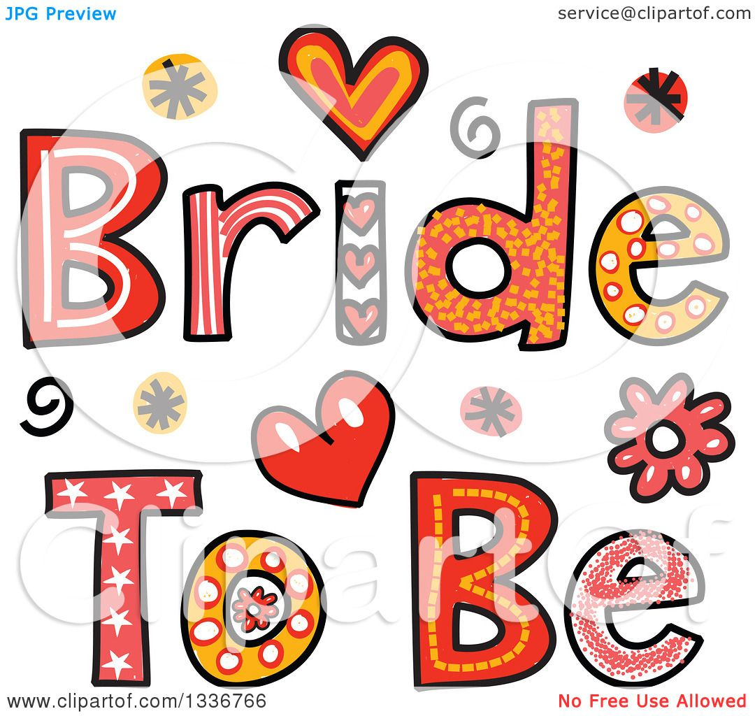 Clipart Patterned Sketched Bride Text