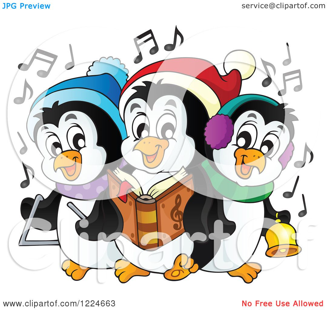 clipart of a cartoon christmas penguin holding a gift and sitting