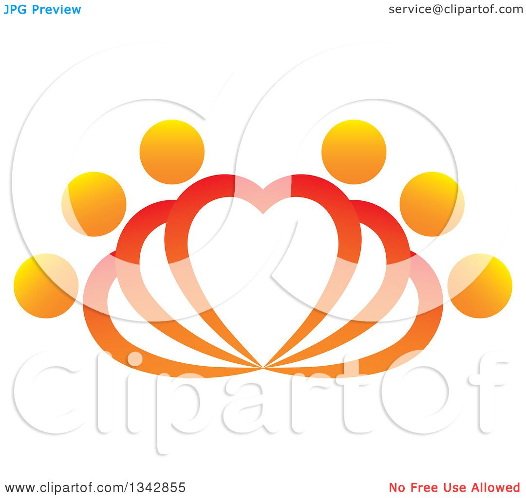 Clipart of People Forming Fanning Hearts - Royalty Free Vector ...