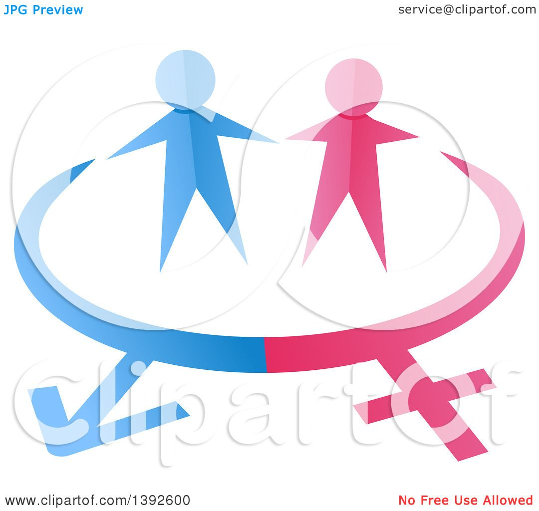Clipart Of Pink And Blue Paper People Over Gender Symbols Royalty