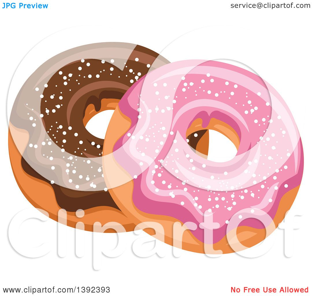 Larger preview vector clip art of a happy yellow coffee cup character - Clipart Of Pink And Chocolate Glazed Donuts Royalty Free Vector Illustration Preview Clipart
