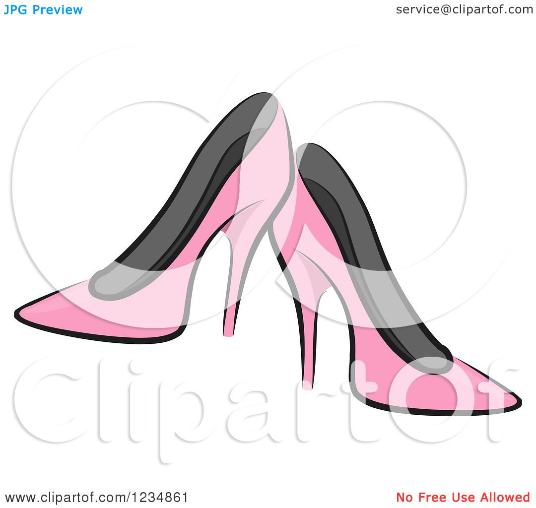 1583db7083b Clipart of Pink Boutique High Heels - Royalty Free Vector ...