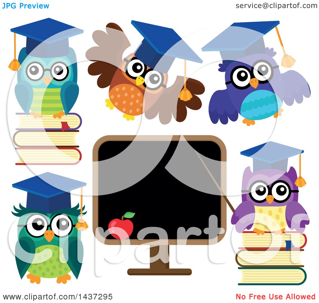 Clipart of Professor Owls - Royalty Free Vector ...