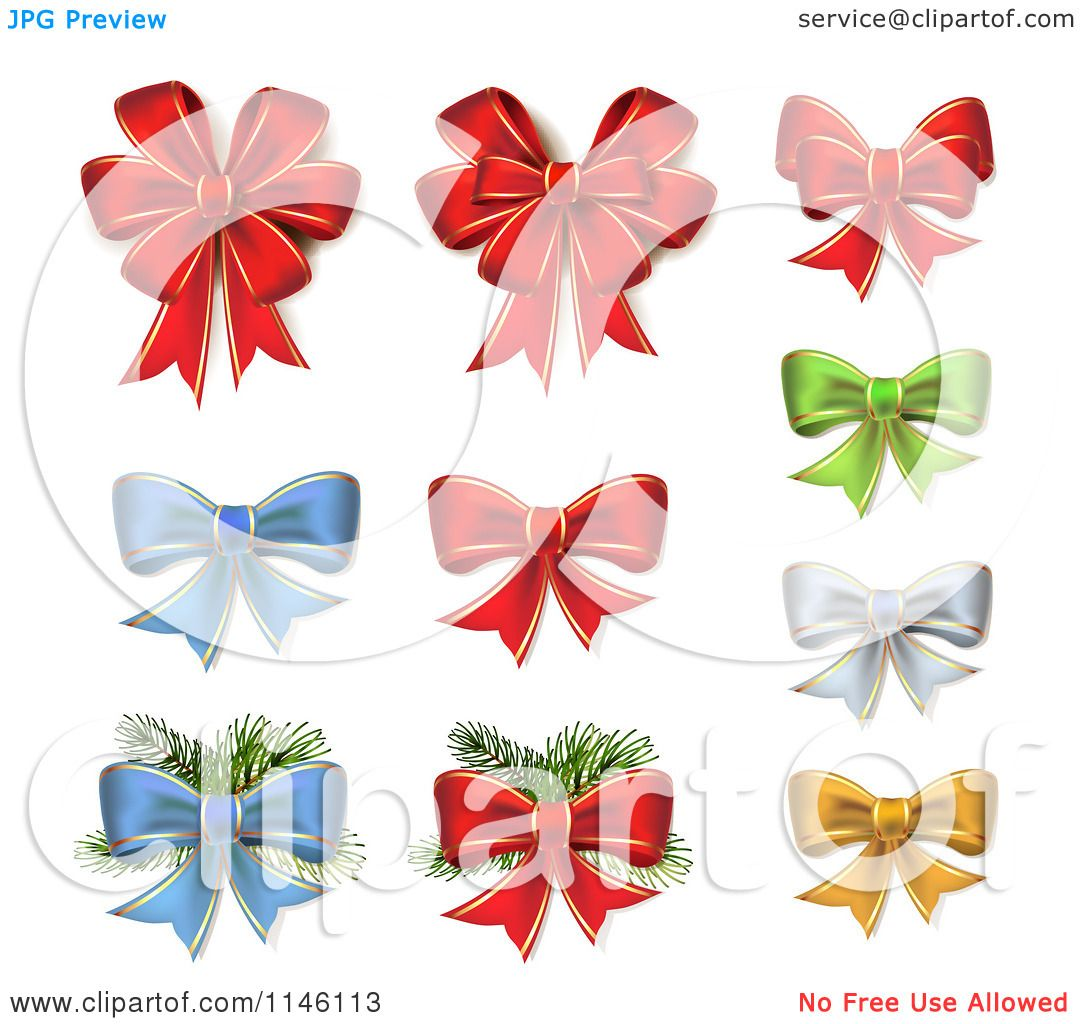 Clipart of Red Green Blue Silver and Gold Christmas Bows and ...