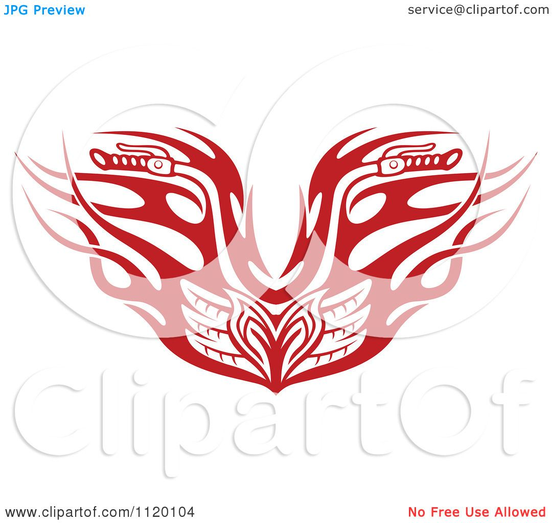 Motorcycle clip art with flames - Clipart Of Red Tribal Flaming Motorcycle Biker Handlebars Royalty Free Vector Illustration By Vector Tradition Sm