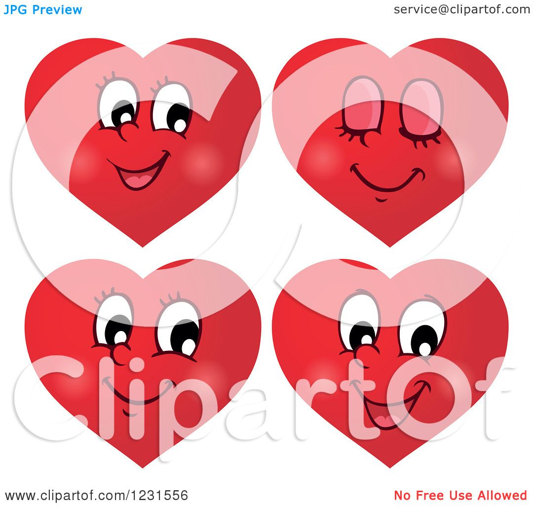 clipart of red valentine heart emoticon faces with different