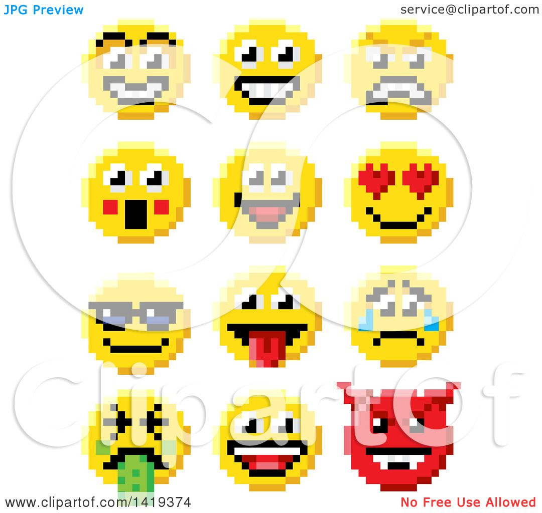 Clipart of retro 8 bit video game style emoji smiley faces clipart of retro 8 bit video game style emoji smiley faces royalty free vector illustration by atstockillustration buycottarizona Images