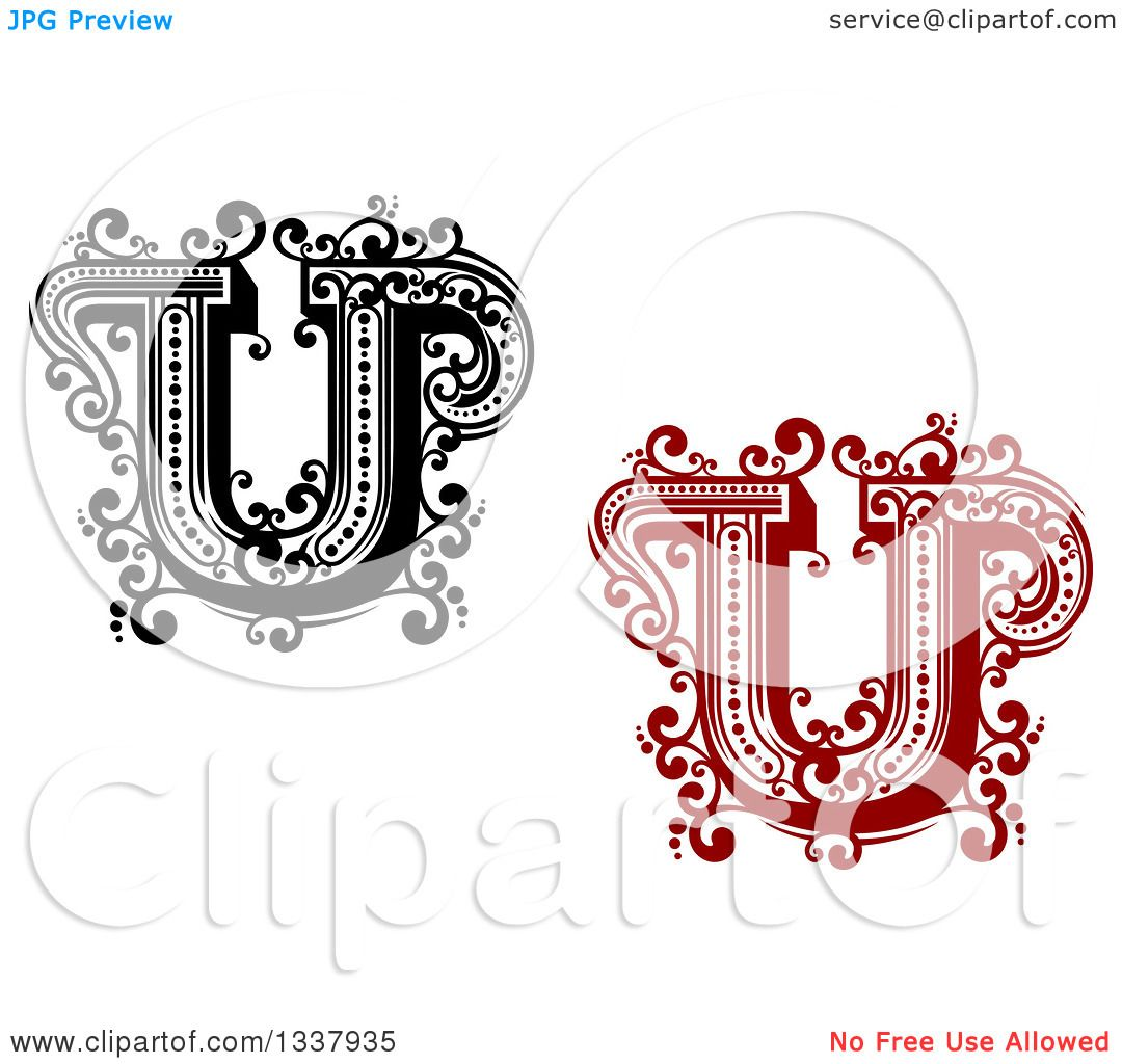 Clipart Of Retro Black And White And Red Capital Letter U With