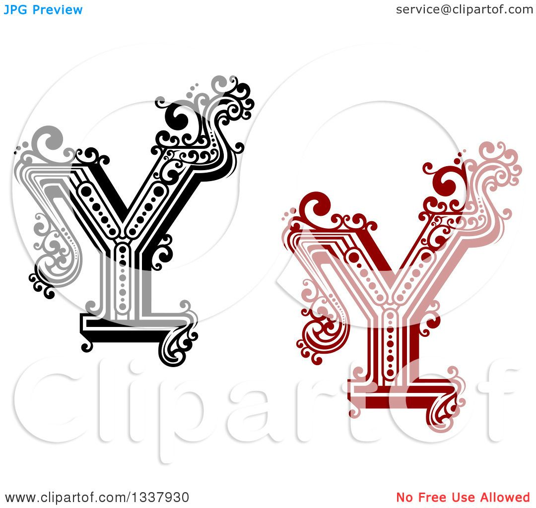 Clipart Of Retro Black And White And Red Capital Letter Y With
