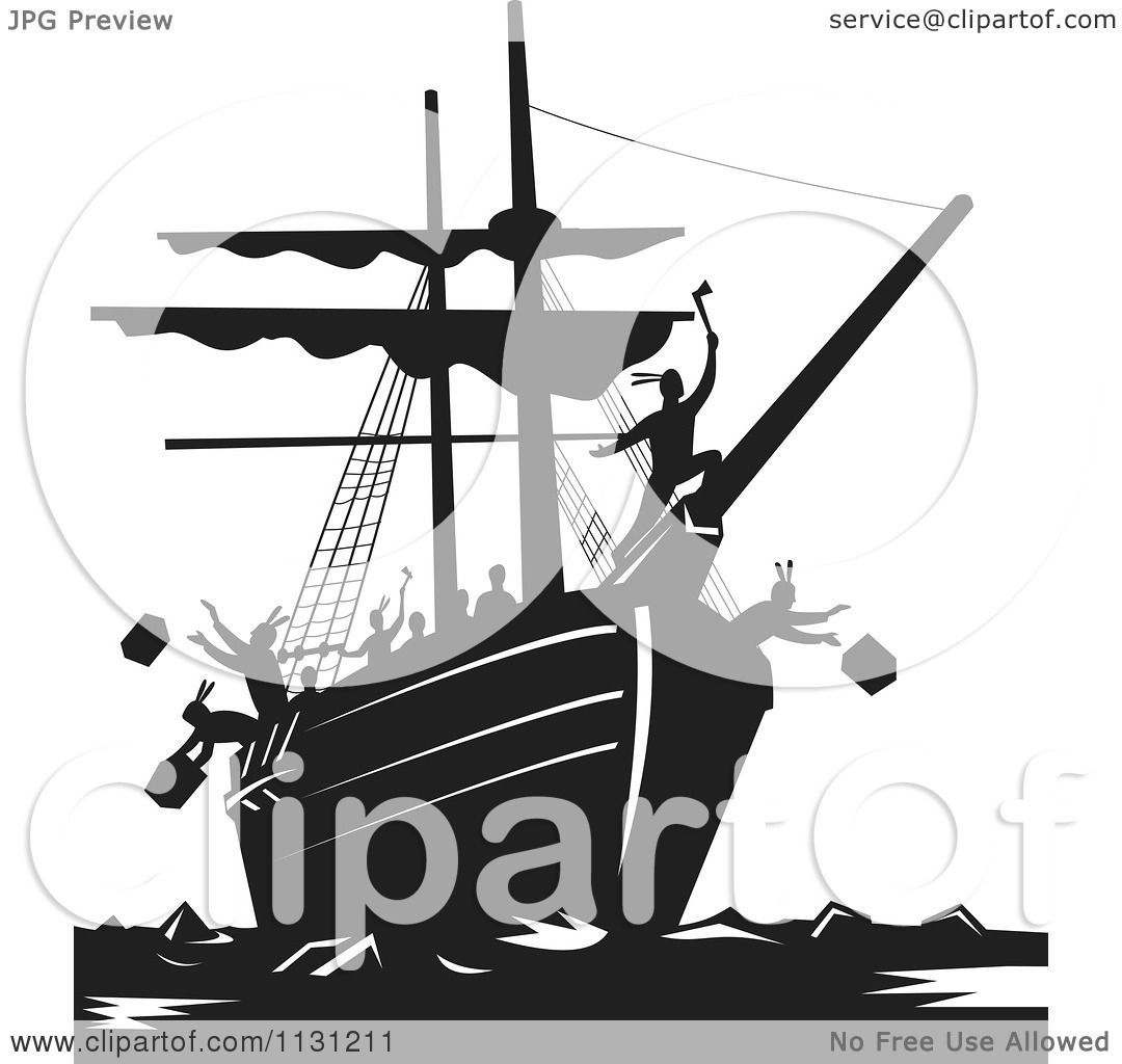 Clipart Of Retro Black And White Protestors Destroying Tea
