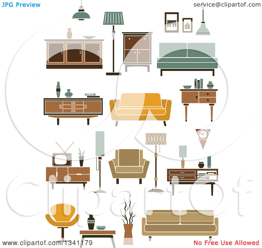 Clipart of Retro Household Furniture 7 - Royalty Free Vector ...