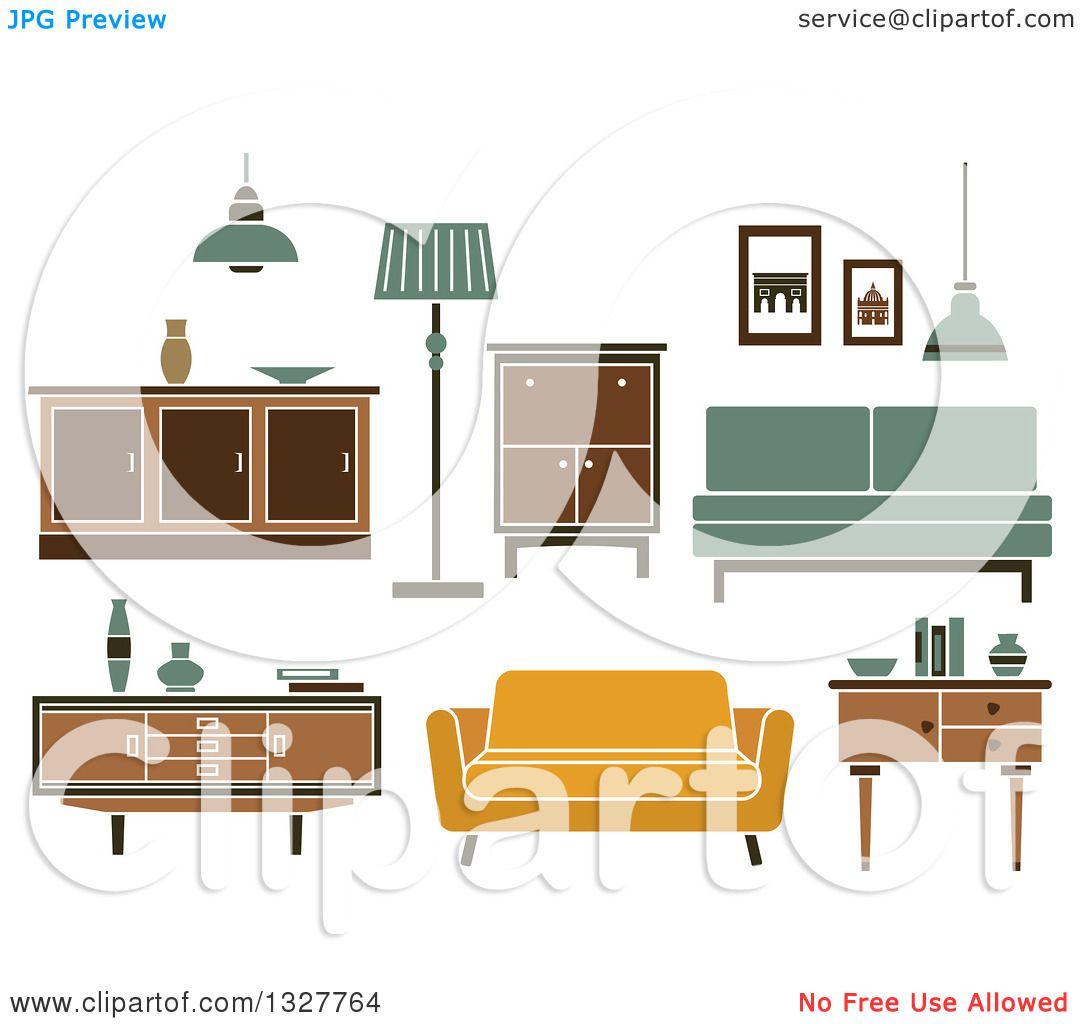 Furniture Clip Art: Clipart Of Retro Household Furniture