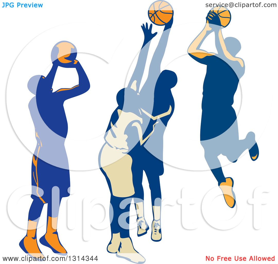 Clipart Of Retro Male Basketball Players Shooting And