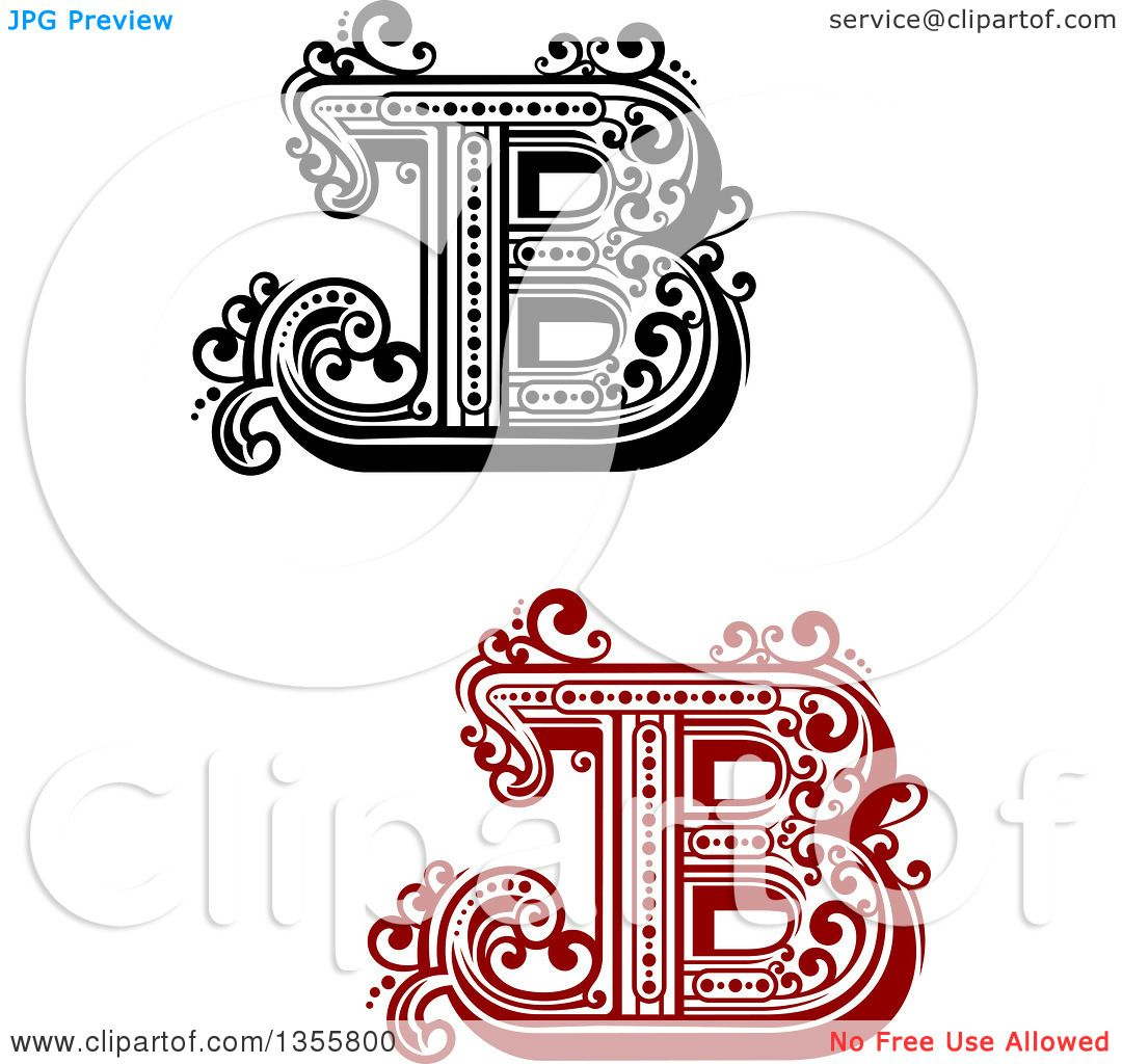 clipart of retro red black and white capital letter b designs with flourishes royalty free vector illustration by vector tradition sm