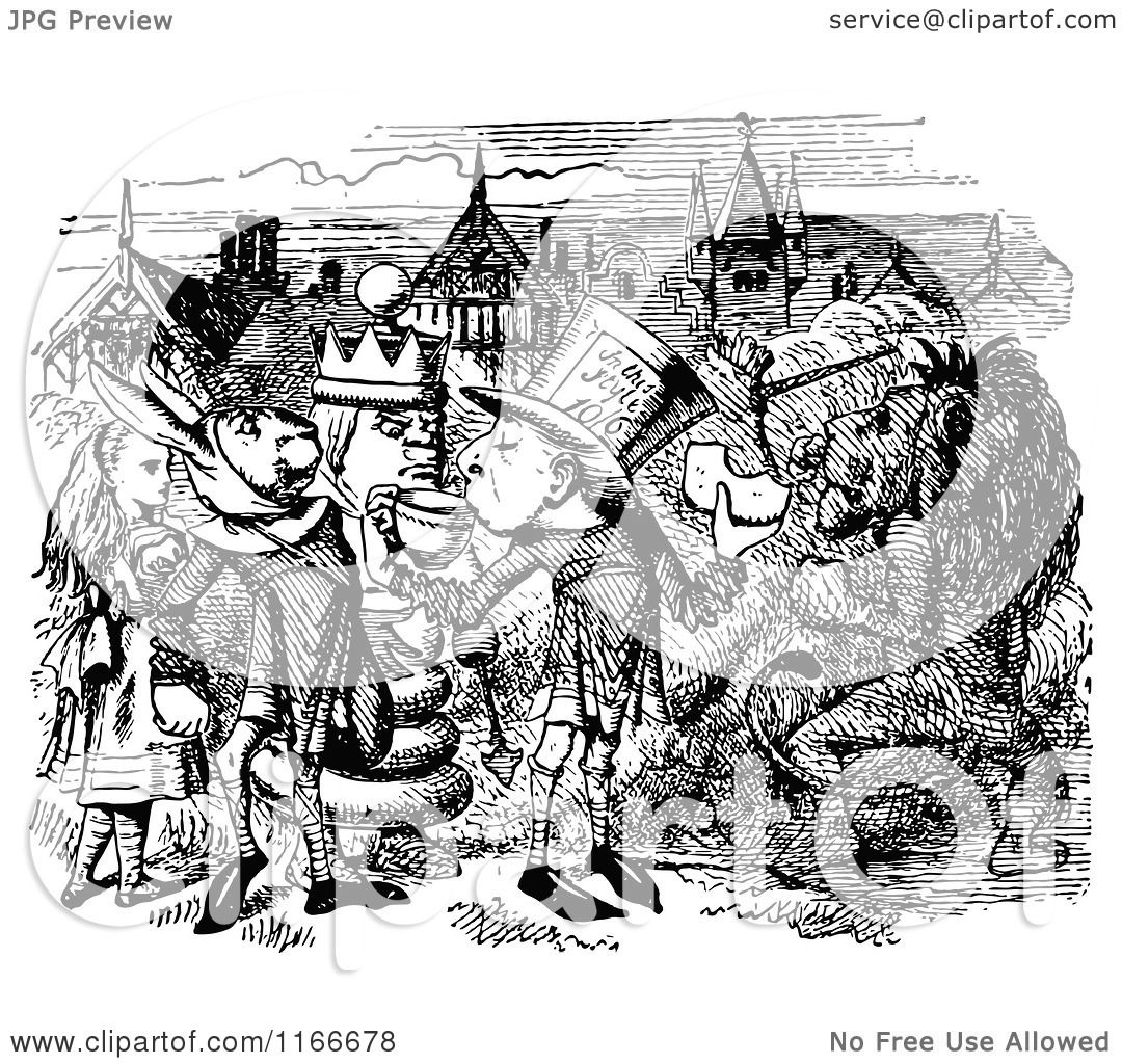 Clipart of Retro Vintage Black and White Alice and Friends
